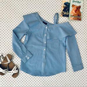 Girls size12 BARDOT JUNIOR One Shoulder blue shirt